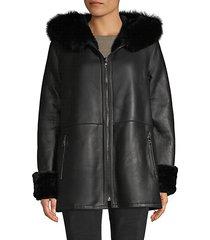 fox fur-trim sheepskin hooded jacket
