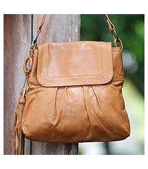 leather shoulder bag, 'sulawesi morn' (indonesia)