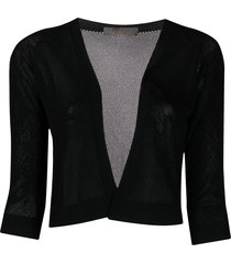 d.exterior mesh knit cropped cardigan - black