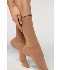 calzedonia women's smooth cotton mid-calf socks woman brown size tu