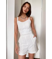 womens sew much love broderie anglaise romper - white