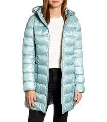 women's via spiga three-quarter packable puffer jacket, size x-small - green