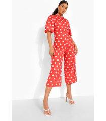 culotte jumpsuit met stippen en open rug, red