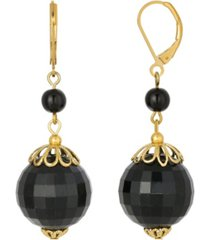 2028 gold-tone large black bead earring