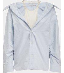 alexander wang camicia bacchettata inserto in nylon