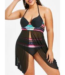 plus size geo mesh slit handkerchief tankini swimwear