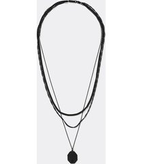river island mens black tag pendant layered chain necklace