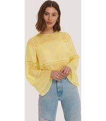 na-kd trend blus med spetsdetaljer - yellow