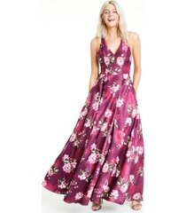 city studios juniors' floral-print bow-back gown
