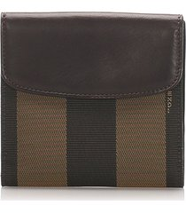 fendi pequin small wallet brown, black sz: