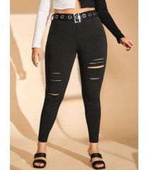 ladder cutout grommet buckled-belt plus size skinny pants