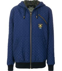 mr & mrs italy textured zipped hoodie - blue