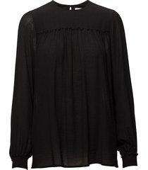 crinkle blouse blus långärmad svart filippa k