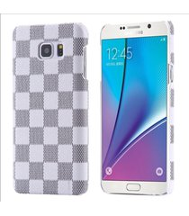 luxury classic style grid pattern leather hard back cover case samsung galaxy s6