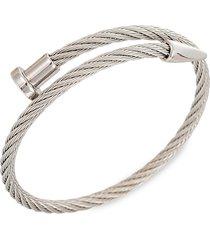eye candy la men's leo silvertone titanium cable spike cuff bracelet