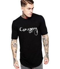 camiseta criativa urbana long line oversized coragem masculina