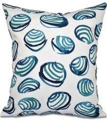 clams 16 inch teal decorative coastal throw pillow