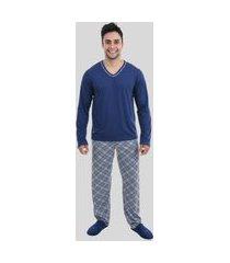 conjunto pijama masculino manga longa calça adulto inverno azul