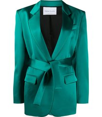 hebe studio tied-waist fitted blazer - green