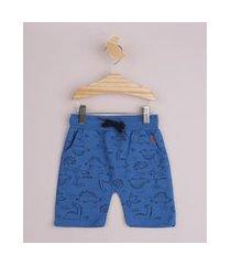 bermuda de moletom infantil estampada animais da savana cós canelado com cordão azul