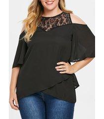 plus size lace back zipper flowy blouse