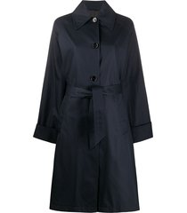 mm6 maison margiela single-breasted belted coat - blue