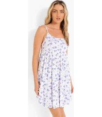 bloemenprint swing jurk met ceintuur, white