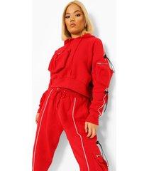 petite cargo hoodie met touwtjes, red