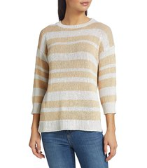 saks fifth avenue women's collection striped pullover sweater - white beige combo - size l