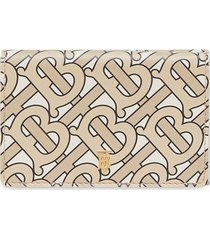 burberry small monogram print leather folding wallet - neutrals
