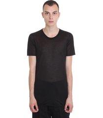 rick owens basic s-s t-shirt in black silk