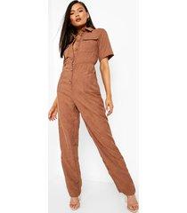 corduroy jumpsuit met knopen en kraag, brown