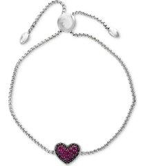 effy certified ruby cluster slider bracelet (5/8 ct. t.w.) in sterling silver