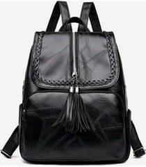 braid quilted design tassel pu backpack