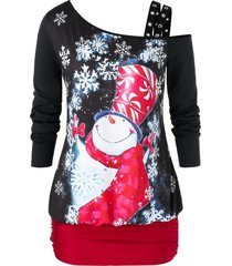 plus size skew collar christmas snowman print tunic t shirt
