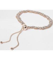 river island womens rose gold colour diamante lariat bracelet
