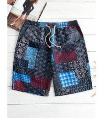 traje de baño elástico de secado rápido de verano para hombres playa shorts medios