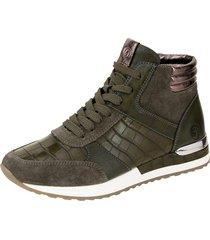 high sneaker remonte khaki::silvergrå