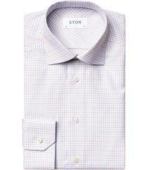 eton men's slim-fit check cotton-blend dress shirt - brown - size 17