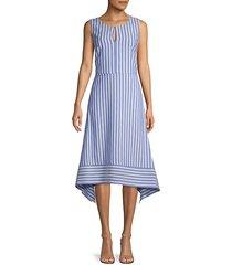 striped high-low a-line dress