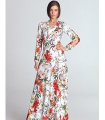 sukienka maxi z wycięciami na rękawach we wzór