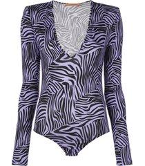 andamane structured-shoulder tiger-print bodysuit - purple