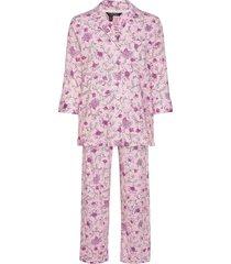 lrl 3/4 sl. notch collar long pant pj pyjamas rosa lauren ralph lauren homewear