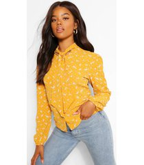 floral print pussy bow high neck blouse, mustard