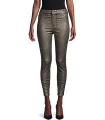 7 for all mankind women's high-rise leopard-print ankle skinny jeans - micro leopard - size 27 (4)