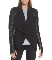 women's blanc noir drape front jacket, size x-small - black