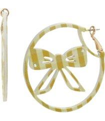 betsey johnson gingham bow hoop earrings