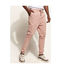 calça de sarja masculina jogger skinny com cordão rosê