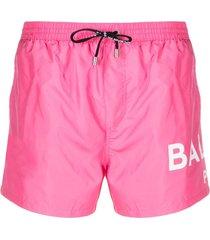 balmain logo-print swim shorts - pink