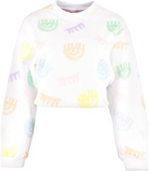 chiara ferragni logomania cotton cropped sweatshirt